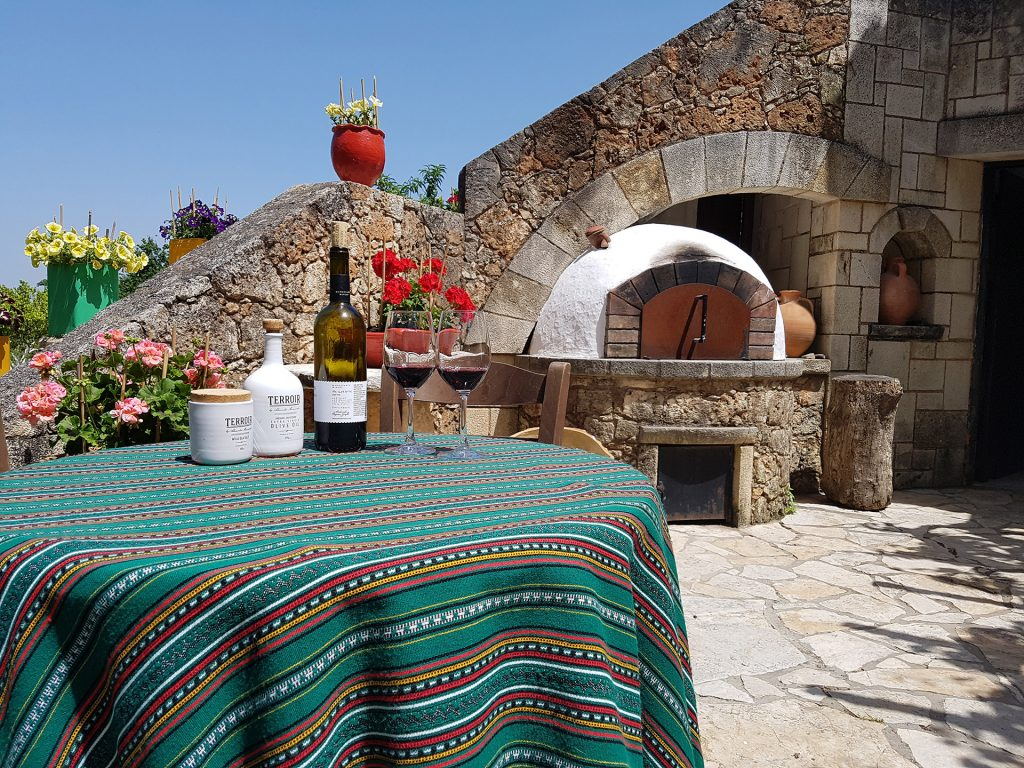 Wine and olive oil Tasting in Crete - outside