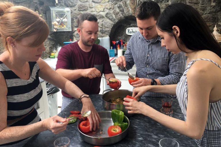 People Enjoying Cooking Class in Mykonos