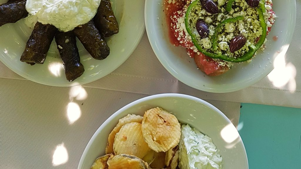 Dishes with Cretan food