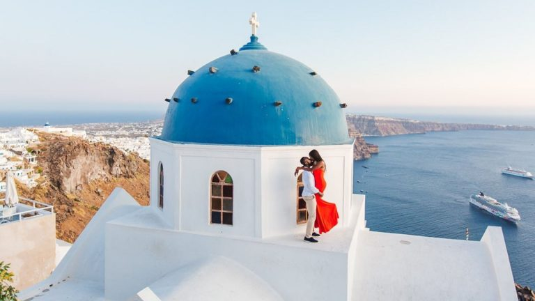 Santorini Photographer With Flying Dress